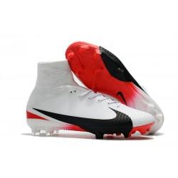 Nuove Scarpa da calcio Nike Mercurial Superfly V FG Bianco Rosso Nero