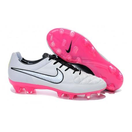 Nuove Scarpe Calcio Nike Tiempo Legend V FG Bianco Rosa Nero