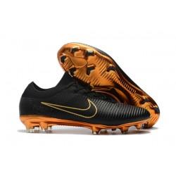Scarpe da calcio da uomo 2017 - Nike Mercurial Vapor Flyknit Ultra FG Oro Nero