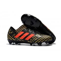 Nuovo Scarpe Da Calcio Adidas Nemeziz Messi 17.1 FG Nero Oro Arancione