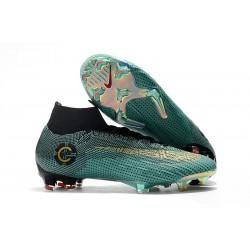 Nuovo Tacchetti da Calcio Nike Mercurial Superfly VI Club Ronaldo FG Giada Clear Oro Metallic Nero