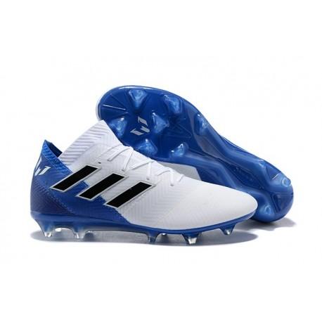 Scarpe Da Calcio Uomo Adidas Nemeziz Messi 18.1 FG Bianco Blu