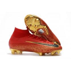 Scarpe da Calcio Alte Nike Mercurial Superfly VI 360 Elite FG CR7 - Oro Nero Rosso