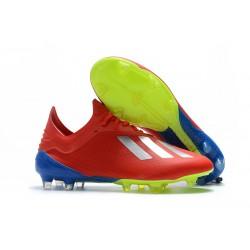Nuovo Scarpe Da Calcio adidas X 18.1 FG Argento Rosso