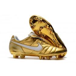 Uomo Nike Tiempo Legend 7 FG scarpe da calcio Oro Bianco