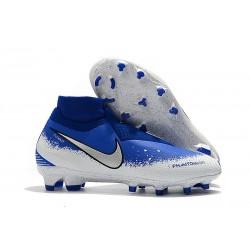 Scarpe Per Gli Uomini Nike Phantom Vision Elite DF FG Blu Bianco Argento